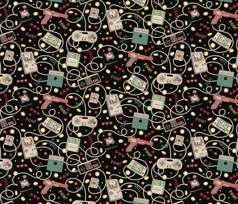 Favourite Game Retro Black just over half scale 7 x 14 in fabric by teja_jamilla on Spoonflower - custom fabric
