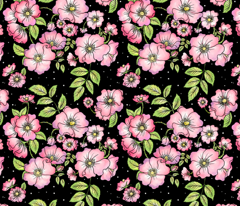 Dog Roses (Full Color) fabric by rosalarian on Spoonflower - custom fabric