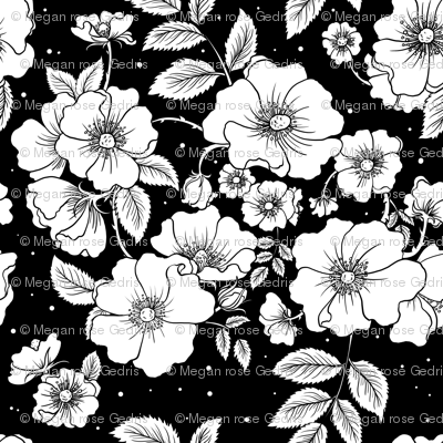 Dog Roses (Black)