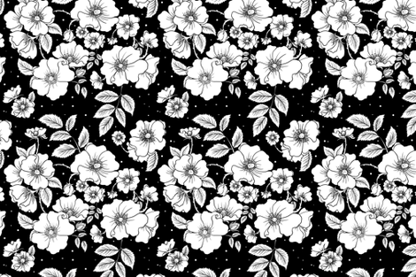 Dog Roses (Black) fabric by rosalarian on Spoonflower - custom fabric