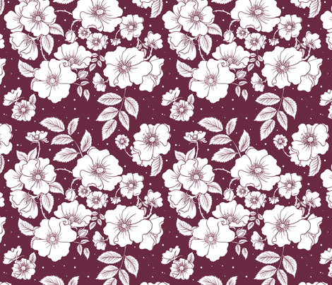 Dog Roses (Red) fabric by rosalarian on Spoonflower - custom fabric