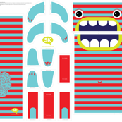 Hungry Monster Laundry Bag: Red/Turquoise