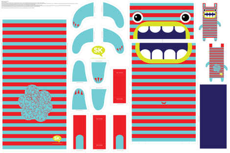 Hungry Monster Laundry Bag: Red/Turquoise fabric by sammyk on Spoonflower - custom fabric