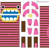 Hungry Monster Laundry Bag: Pink/Brown