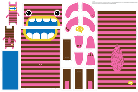 Hungry Monster Laundry Bag: Pink/Brown fabric by sammyk on Spoonflower - custom fabric