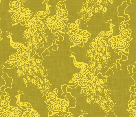 PEACOCKS + ROSES - chinoiserie golden linen fabric by marcador on Spoonflower - custom fabric