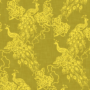 PEACOCKS + ROSES - chinoiserie golden linen
