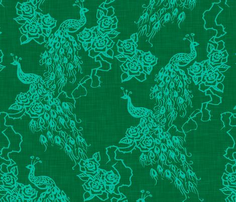 PEACOCKS + ROSES - emerald fabric by marcador on Spoonflower - custom fabric