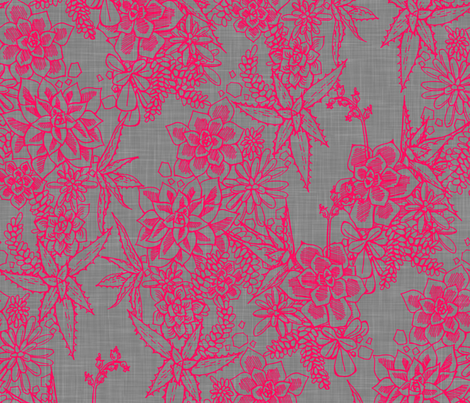 SUCCULENT - fuchsia + gray linen fabric by marcador on Spoonflower - custom fabric