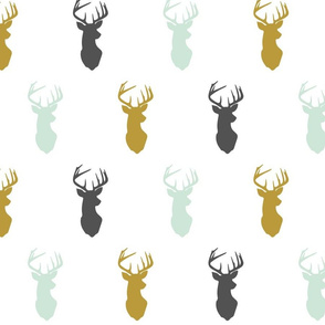 Multi Buck Head // Woodland - Mint/Charcoal/Gold