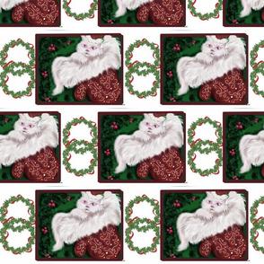 white kitty christmas wreath