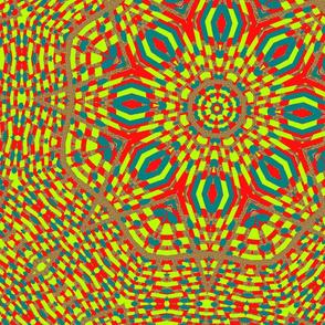 red_lime_green_blue_leopard_kaleidoscope_pattern