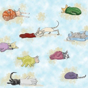 Nine kittens in mittens