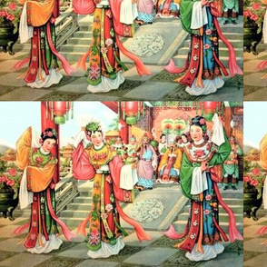 asian china chinese oriental chinoiserie ancient dynasty empress queens princess kings emperor royalty palace dancing dancers traditional soldiers
