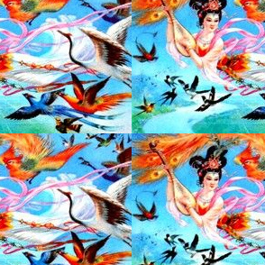 asian china chinese oriental chinoiserie ancient tang dynasty sky fairy fairies maidens birds paradise phoenix peacocks cranes swallows pipa