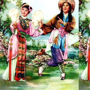 asian china chinese oriental chinoiserie traditional beijing peking opera couples man woman maiden lady trees flowers lakes rivers mountains ancient dynasty