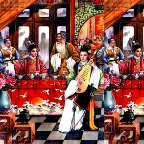 asian china chinese oriental chinoiserie ancient dynasty empress queens princess kings emperor royalty palace musician pipa flowers cranes celebration