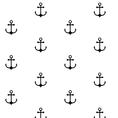Anchor - Black and White fabric by kimsa on Spoonflower - custom fabric