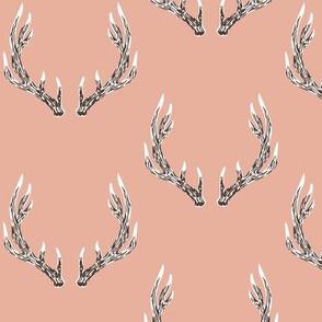 Elk antlers in peach