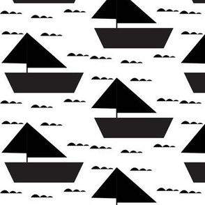 black sail boat - elvelyckan