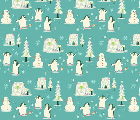 Penguins Kicking a Pinecone fabric by ceneri on Spoonflower - custom fabric