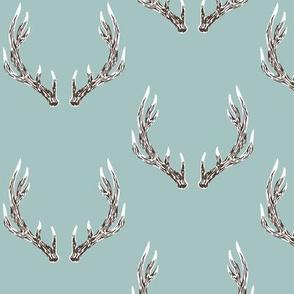 Elk antlers in blue