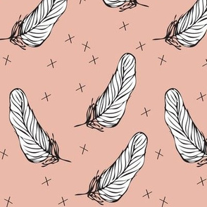 peach white feather - elvelyckan