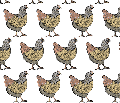 Doodle-Hen-4 fabric by coveredbydesign on Spoonflower - custom fabric
