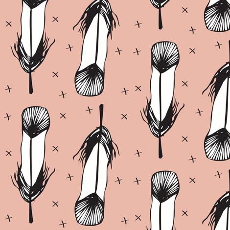 peach feather - elvelyckan fabric by elvelyckan on Spoonflower - custom fabric
