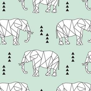 Geometric Elephant // mint