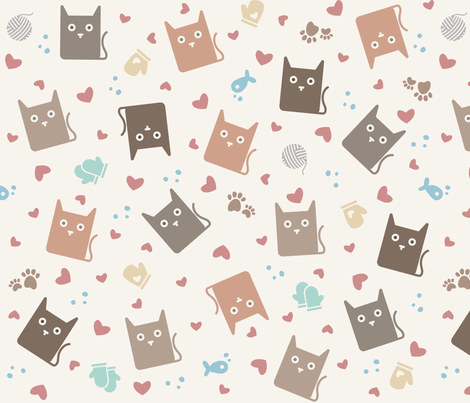 Kittens 'N Mittens fabric by reneechristine on Spoonflower - custom fabric