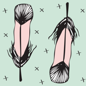 pink and minty feathers - elvelyckan