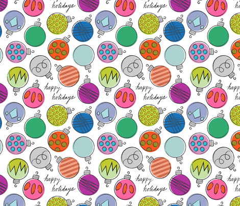 Retro Holiday Ornaments fabric by crafte on Spoonflower - custom fabric