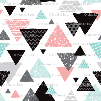 Geometric triangle aztec illustration hand drawn pattern mint and pink