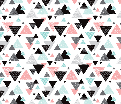 Geometric triangle aztec illustration hand drawn pattern mint and pink fabric by littlesmilemakers on Spoonflower - custom fabric
