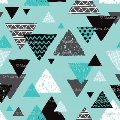 Geometric triangle aztec illustration hand drawn pattern blue boys