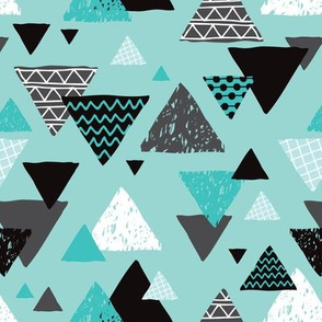 Geometric triangle aztec illustration hand drawn pattern blue boys