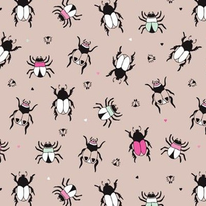 Adorable little beige and pink creepy bugs beetle illustration pattern