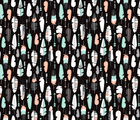 geometric vintage feathers pastel arrows in mint and coral illustration pattern in black fabric by littlesmilemakers on Spoonflower - custom fabric