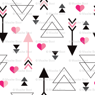 Geometric arrow and heart triangle pink  love illustration indian theme illustration print