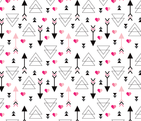 Geometric arrow and heart triangle pink  love illustration indian theme illustration print fabric by littlesmilemakers on Spoonflower - custom fabric