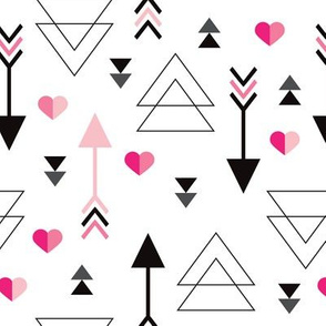 Geometric arrow and heart triangle pink  love illustration indian theme illustration print