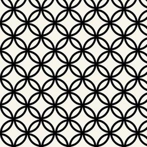 Fretwork geometric circles, black + off-white by Su_G