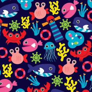 Colorful vivid kids marine fish nautical illustration pattern theme