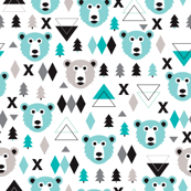 Geometric winter polar bear and scandinavian pine tree christmas kids fabric