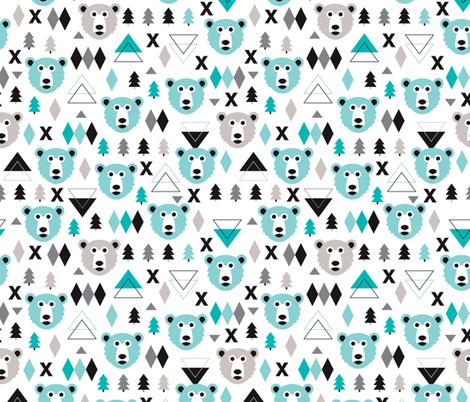 Geometric winter polar bear and scandinavian pine tree for Kids pattern fabric