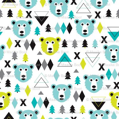 Geometric winter polar bear and scandinavian pine tree christmas kids fabric