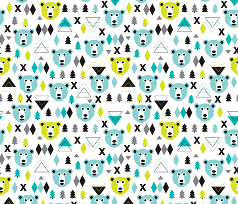 Geometric winter polar bear and scandinavian pine tree christmas kids fabric fabric by littlesmilemakers on Spoonflower - custom fabric