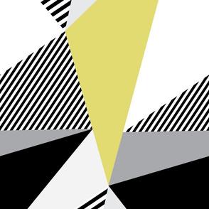 Triangles & Stripes - Grellow, Black & Gray