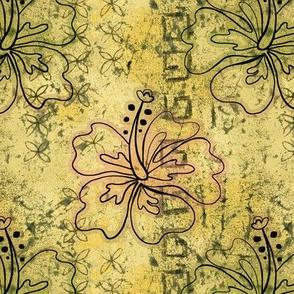 hibiscus batik - yellow ochre